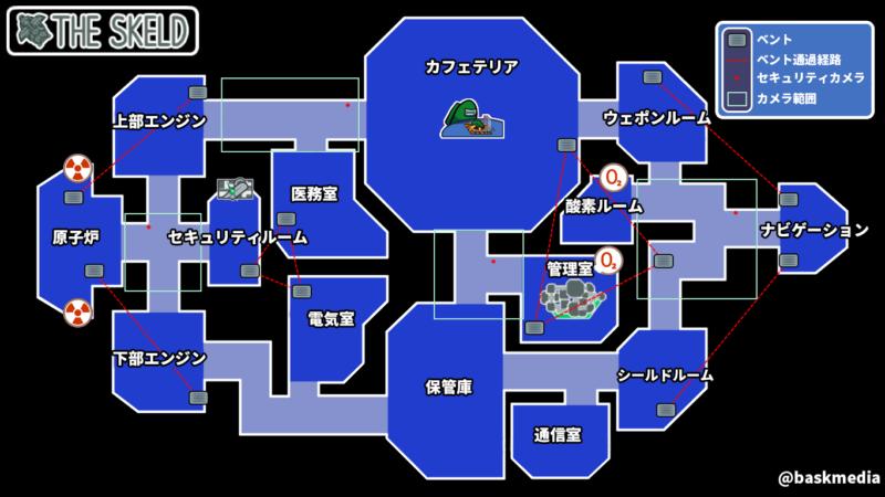 【AmongUs】THE SKELD(ザ・スケルド)日本語訳マップ【日本語】