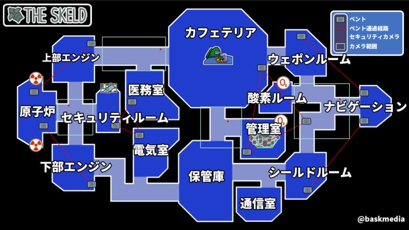 【AmongUs】THE SKELD(ザ・スケルド)日本語訳マップ【日本語】文字サイズ大