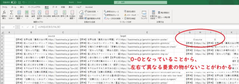 【Excel】UNIQUE関数結果