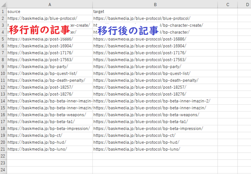 【Excel】Redirection用にデータを整える
